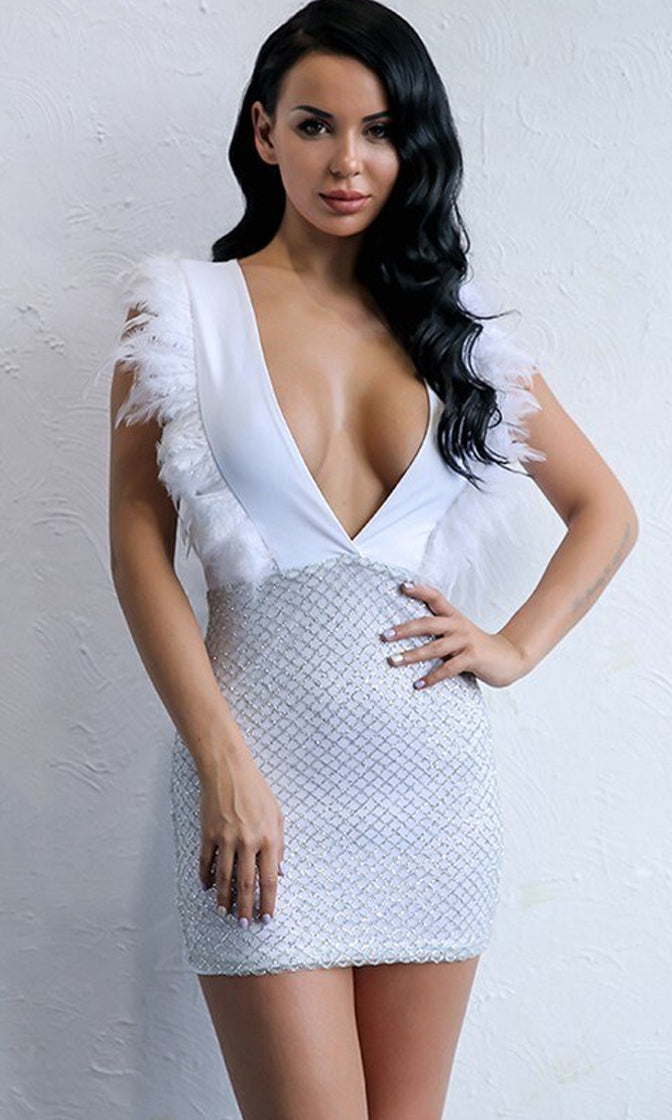 I Shine Brighter White Sleeveless Feather Plunge V Neck Sequin Diamond Geometric Pattern Bodycon Mini Skirt - 2 Colors Available