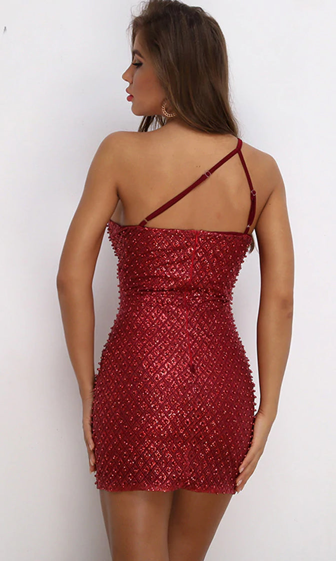 New Feelings Sequin Beading Sleeveless Spaghetti Strap One Shoulder Bodycon Mini Dress - 2 Colors Available