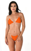 Breathing Underwater Light Coral Orange Clear Strap Triangle Top Thong Bikini Two Piece Swimsuit