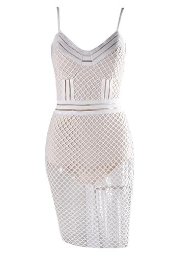 Sunday Soiree White Beige Sleeveless Spaghetti Strap V Neck Cut Out Sheer Fishnet Lace Bodycon Midi Dress