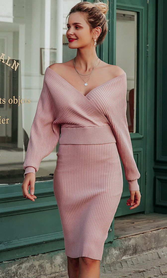 Fairest Of Them All Long Dolman Sleeves Cross Wrap V Neck Crop Pullover Ribbed Bodycon Midi Two Piece Sweater Dress - 2 Colors Available