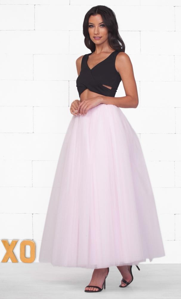 Do A Twirl 7 Layer Light Baby Pink Pleated Elastic Waist Swiss Tulle Ball Gown Maxi Skirt