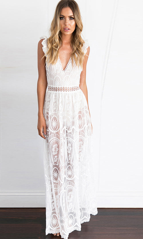 Dream Of Me White Sheer Mesh Lace Sleeveless Ruffle Deep V Neck Cut Out Maxi Casual Dress