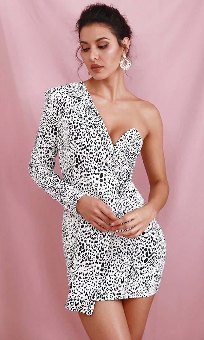 Can't Resist White Black Leopard Print Animal Pattern One Long Sleeve Cut Out Shoulder Blazer Bodycon Mini Dress