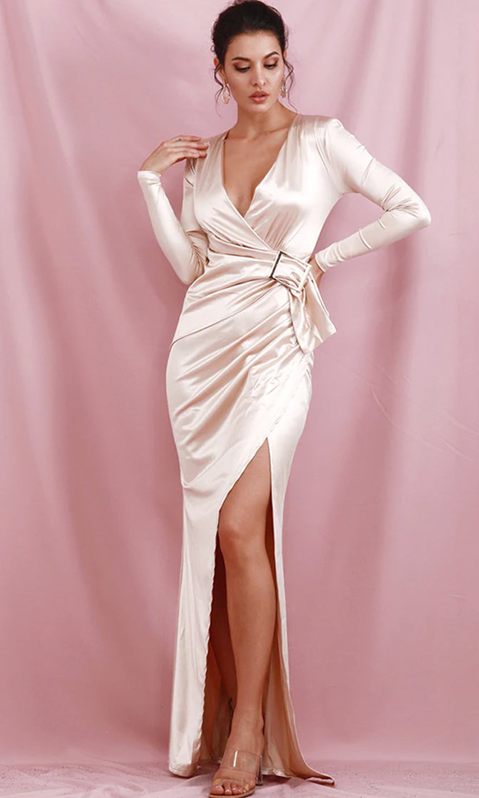 Always Alluring Apricot Satin Long Sleeve Cross Wrap V Neck Draped Buckle Split Maxi Dress