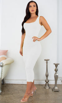 Crush On You White Sleeveless Square Neck Scoop Back Ruched Bodycon Midi Dress