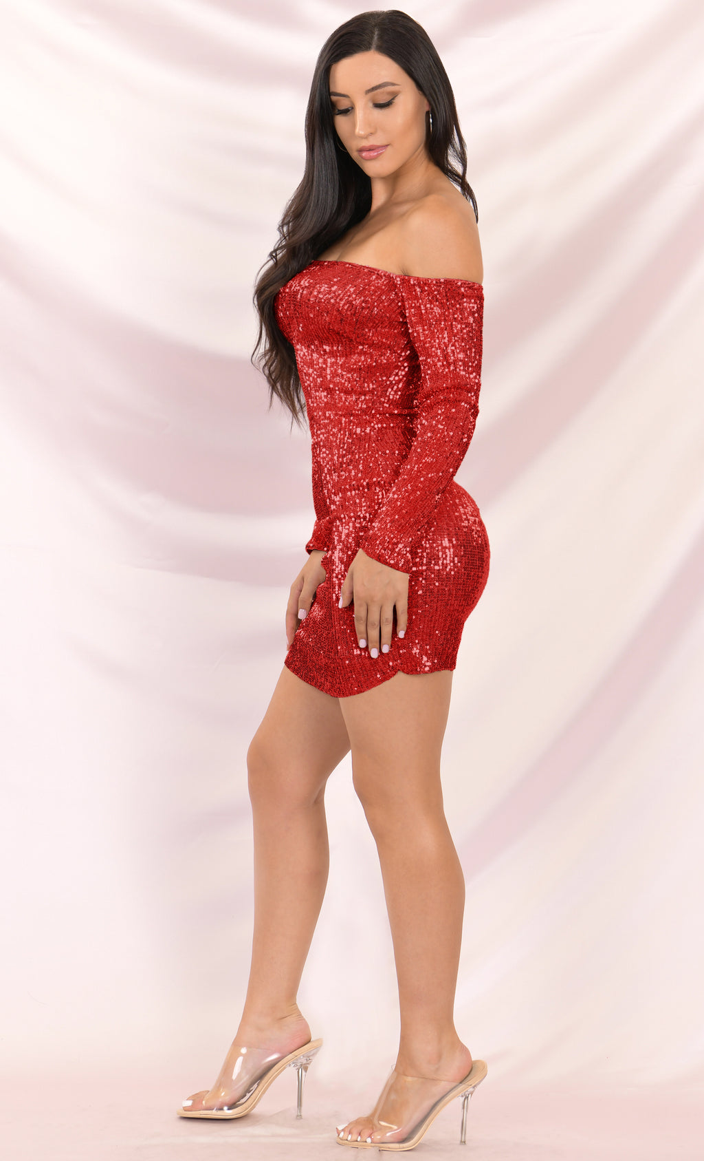 I've Got Stamina Red Sequin Long Sleeve Off The Shoulder Bodycon Mini Dress