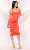 Watch Me Shine Brick Red Satin Sleeveless Spaghetti Strap Lace Up Backless Drape V Neck Bodycon Midi Dress