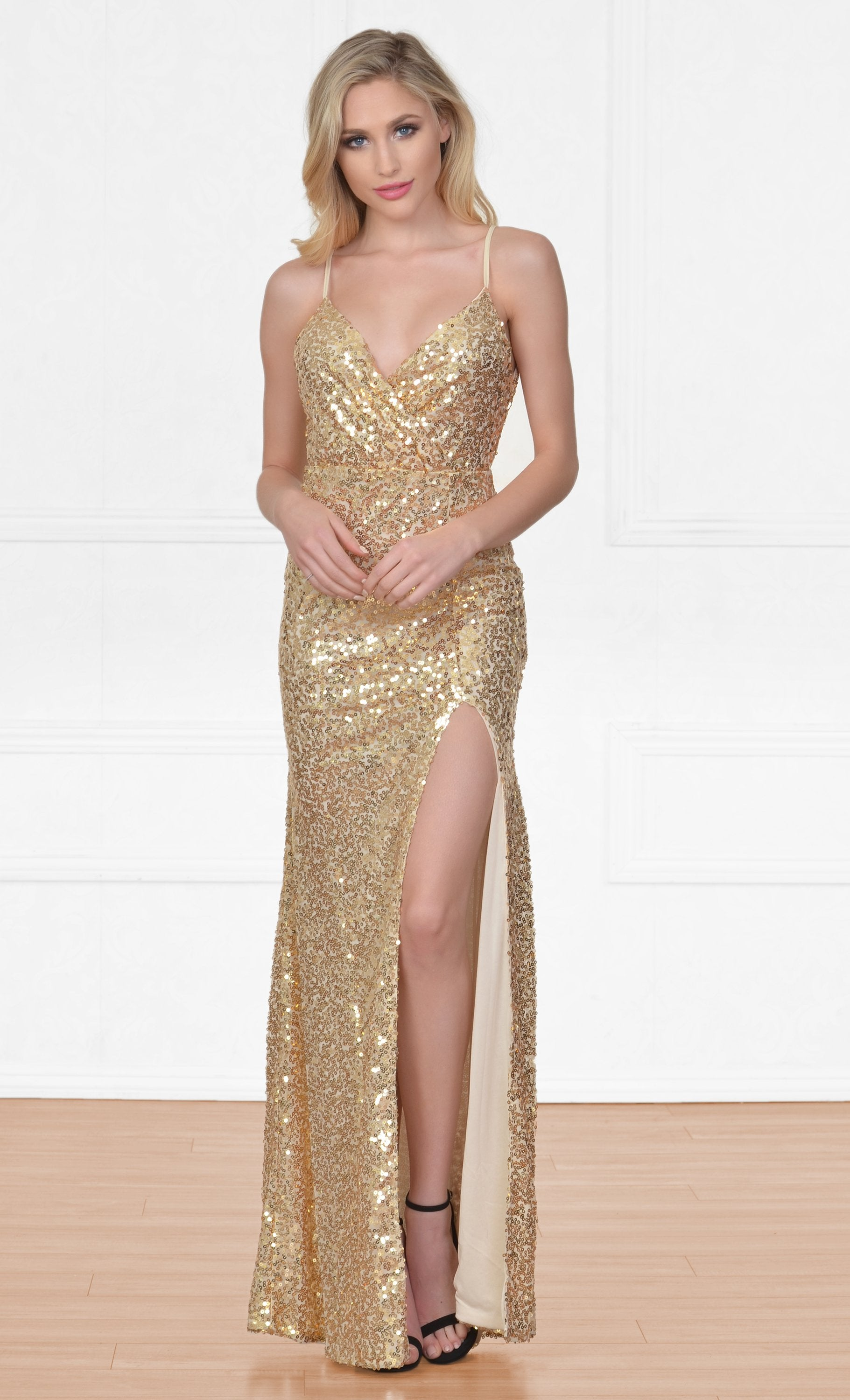 Indie XO City Of Light Gold Sequin Spaghetti Strap Sleeveless Deep V N