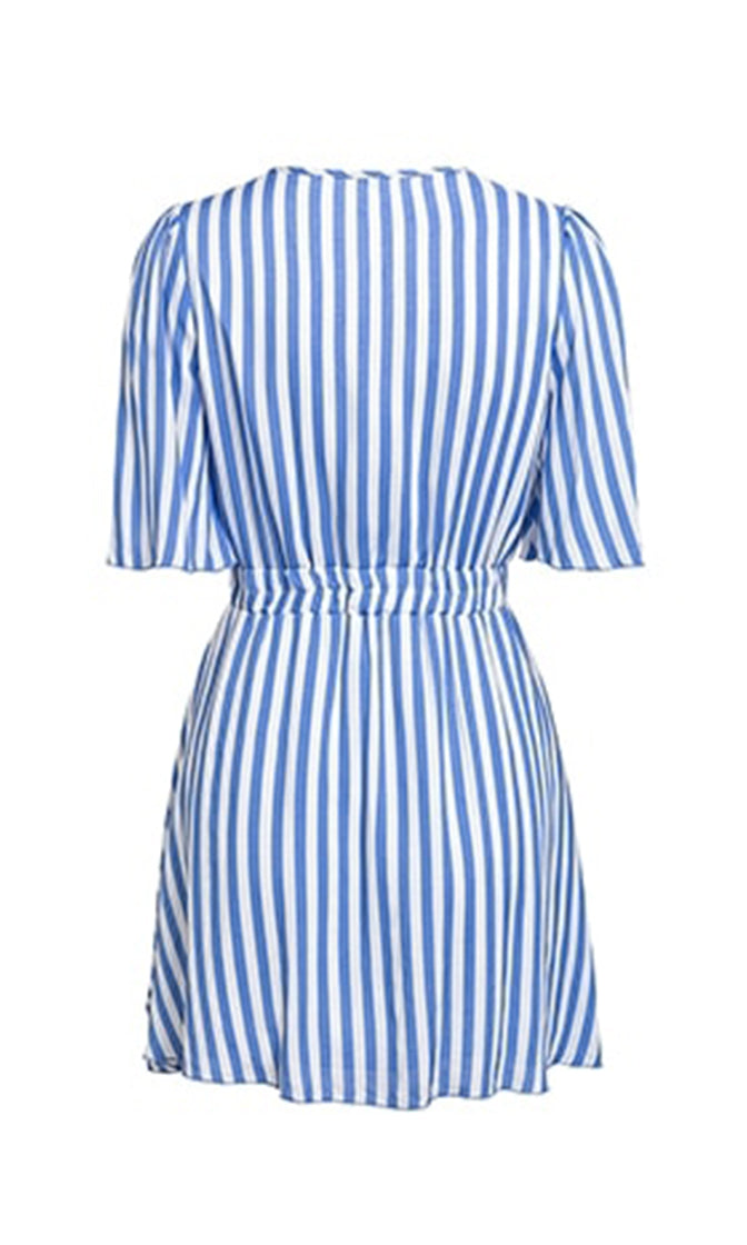 It's Not Over Vertical Stripe Pattern Short Sleeve Cross Wrap V Neck Tie Waist Ruffle Flare Casual A Line Mini Dress - 3 Colors Available