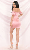 Midsummer Dream Off The Shoulder Puff Short Sleeve Spaghetti Strap Satin Bodycon Mini Dress
