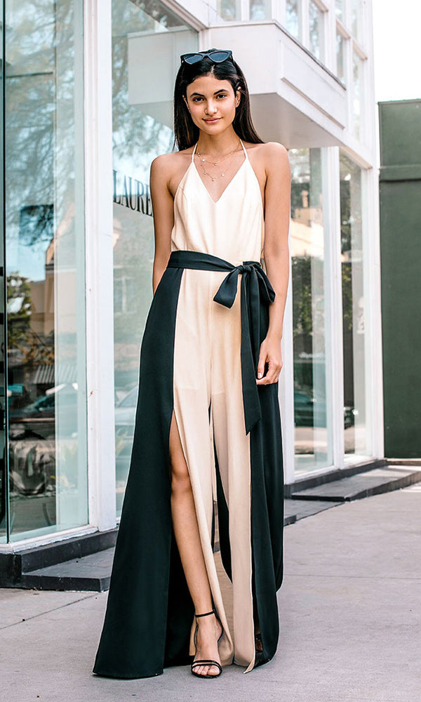 c446009e2ff Selfie Time Beige Black Contrast Color Block Sleeveless Belted Spaghetti  Strap V Neck Halter Backless Wide