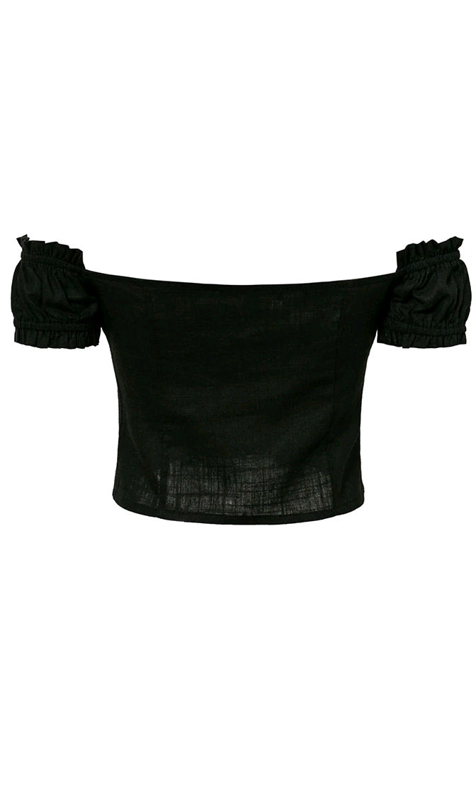 Call My Number Black Linen Short Sleeve Off The Shoulder Ruffle Button Crop Top Blouse - Sold Out
