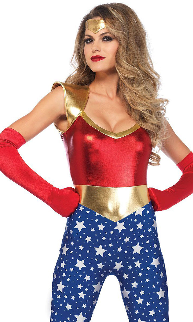 Rule The Universe Blue Red Star Pattern Metallic Lame Sleeveless V Neck Bodycon Jumpsuit Halloween Costume