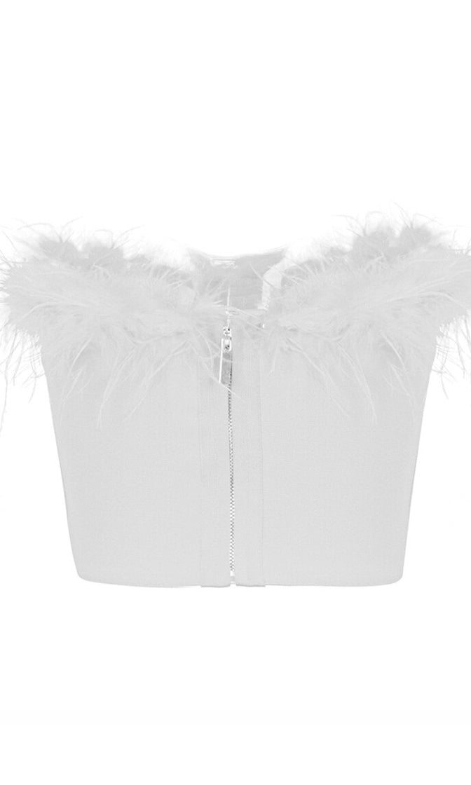 Play With Fire White Strapless Feather Trim Bustier Crop Top