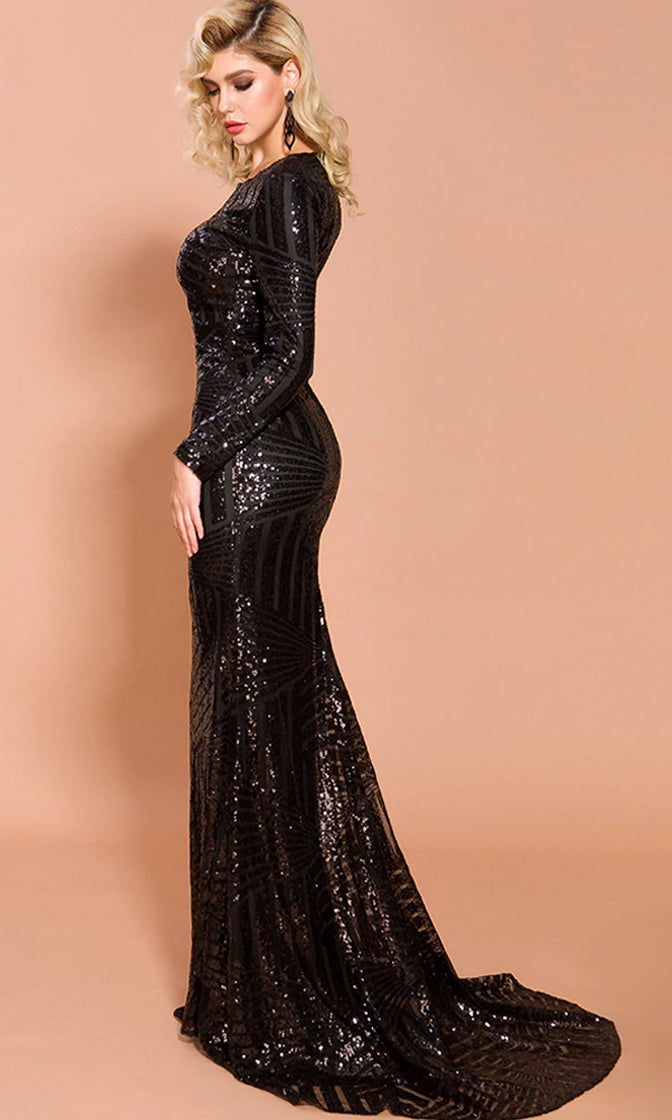 She's A Rich Girl Black Sequin Geometric Pattern Long Sleeve Round Neck Mermaid Maxi Dress