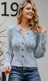 Mind Over Matter Long Sleeve Pointelle Knit Button Crew Neck Cardigan Sweater - 2 Colors Available