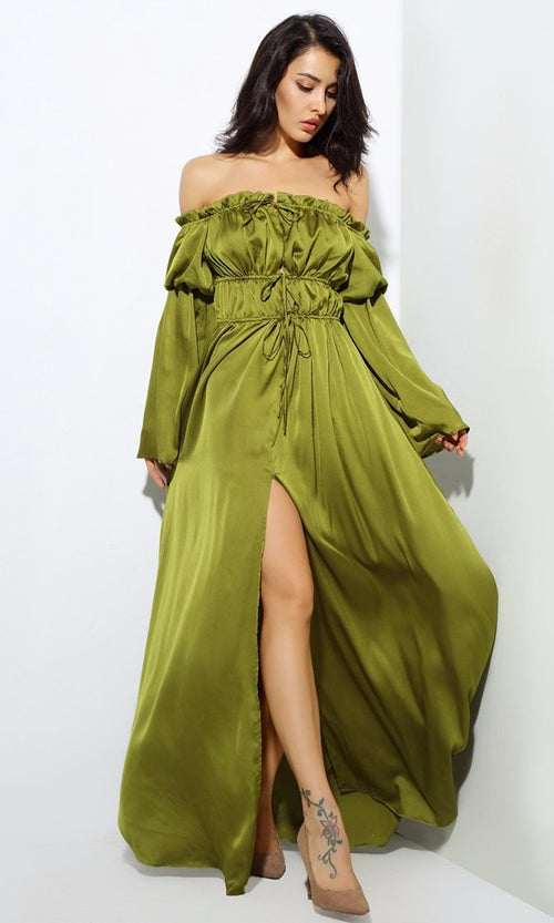 Make It Known Green Long Bell Sleeve Off The Shoulder Tie Waist Slit Front Maxi Casual Dress