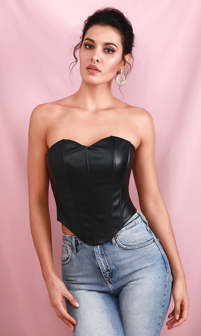 Party Forever Black PU Faux Leather Strapless Sweetheart Bustier Top