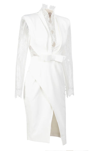 Seductive Angel White Sheer Mesh Lace Long Sleeve Plunge V Neck Bow Wrap Bodycon Midi Dress