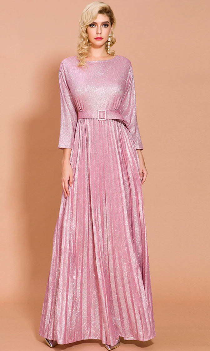 Power Of Love Metallic Pink Sparkle Pleated Loose 3/4 Sleeve Round Neck Belted A Line Maxi Dress