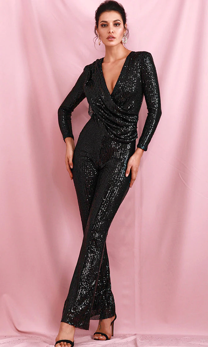 My Everything Black Sequin Long Sleeve Cross Wrap V Neck Drape Straight Leg Jumpsuit