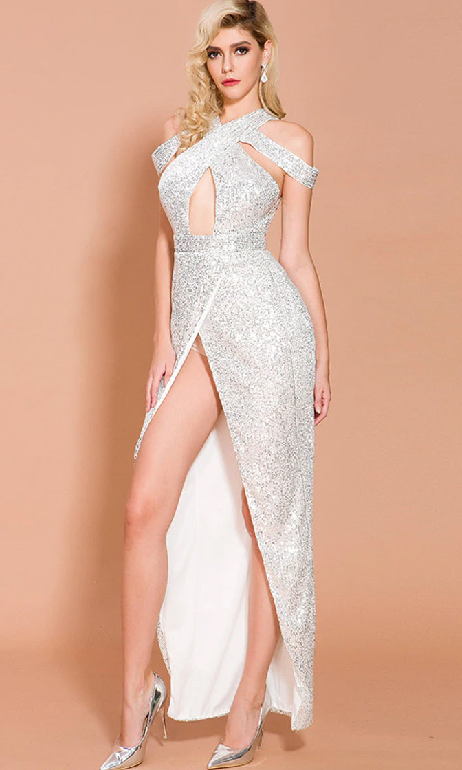 Alluring Glamour Silver Sequin Drape Shoulder V Neck Cut Out Front Slit Maxi Dress