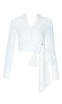 Seize The Day White Sheer Long Sleeve Button Front V Neck Collar Bow Crop Blouse Top - Sold Out