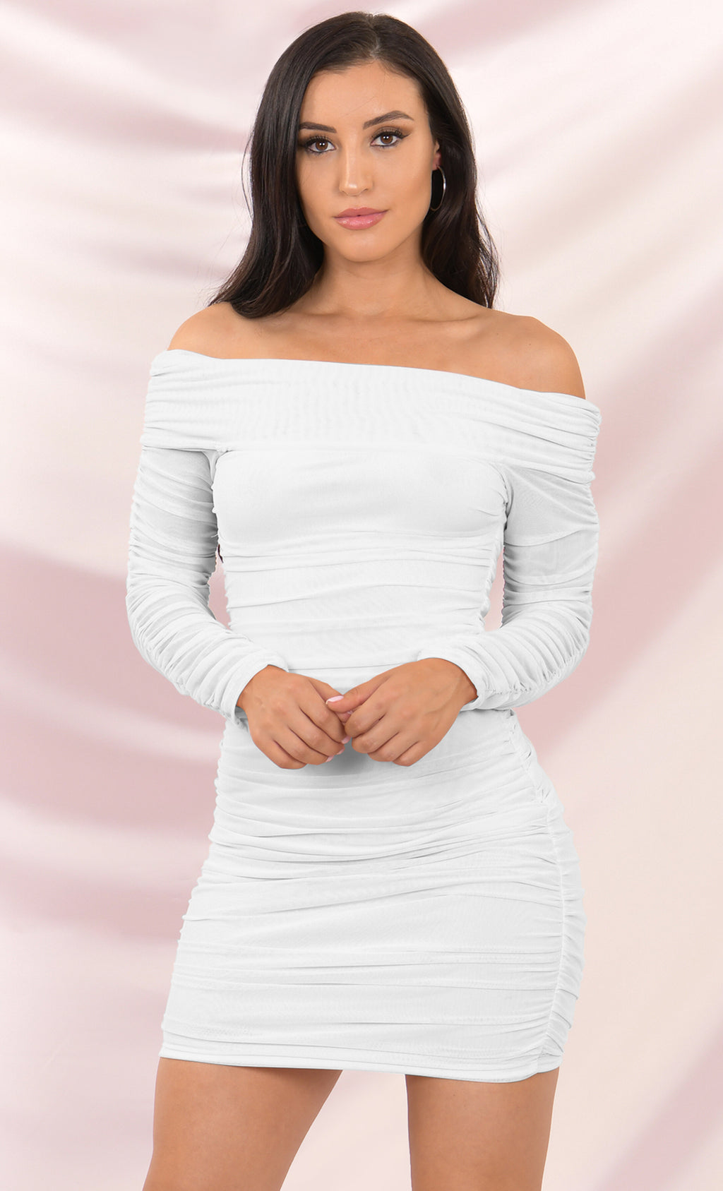 Soft Petals White Ruched Off the Shoulder Sheer Mesh Bodycon Long Sleeve Mini Dress - 2 Colors Available
