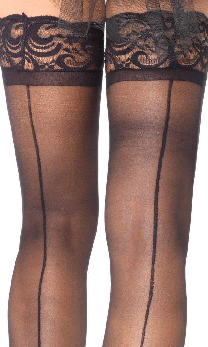 Livin' On a Prayer Black Sheer Lace Top Back Seam Thigh High Stockings Tights Hosiery
