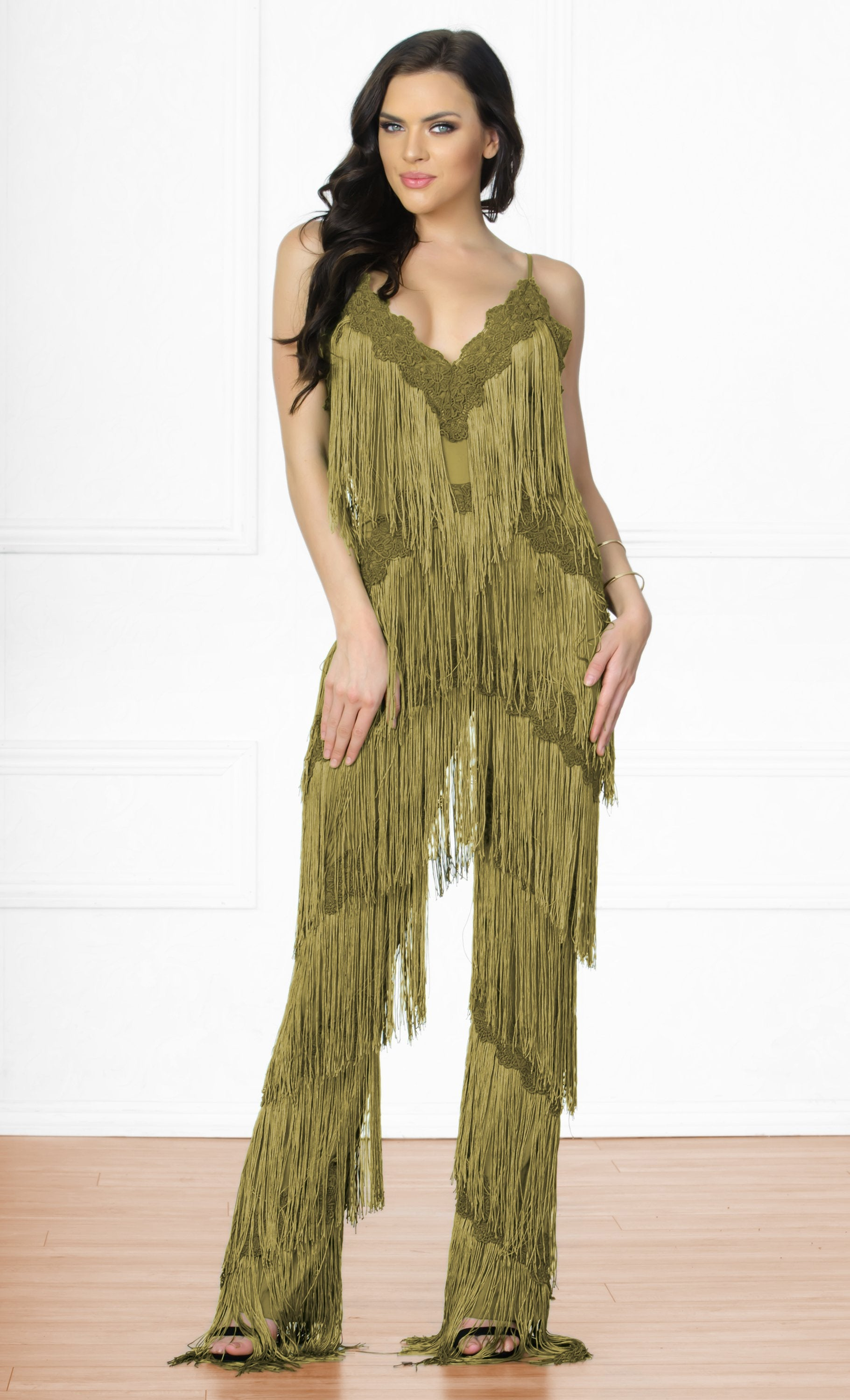 6af0ba0e856c Indie XO Tinsel Town Army Green Sleeveless Spaghetti Strap Plunge V Neck  Fringe Tiered Jumpsuit -