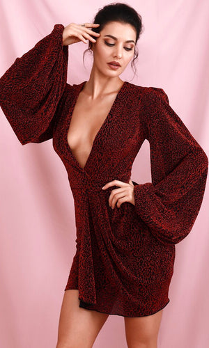 On A Hunch Black Red Leopard Animal Pattern Long Lantern Sleeve Cross Wrap V Neck Drape Mini Dress