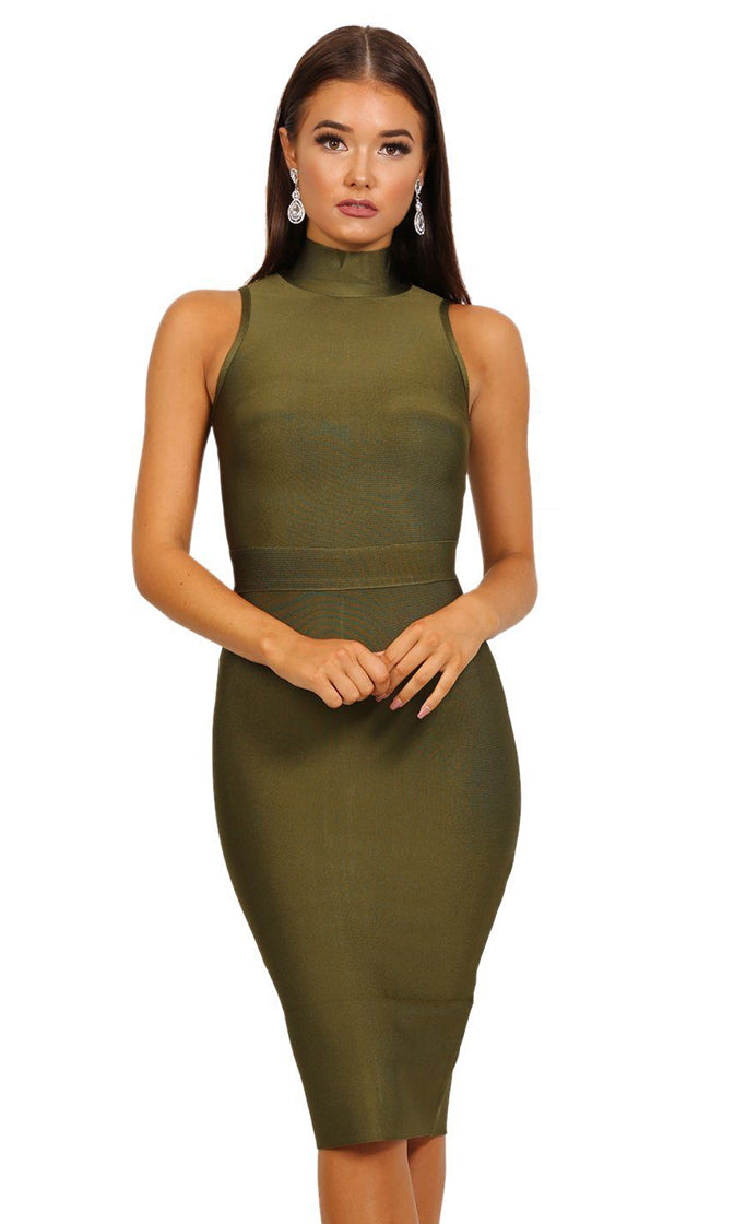 Kimmy Olive Turtleneck Midi Dress bandage dress