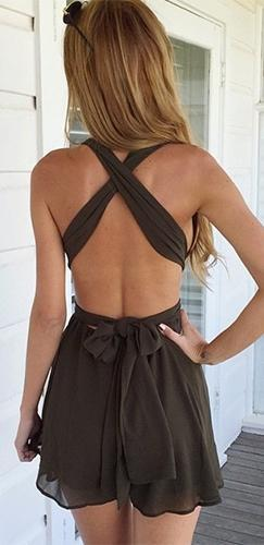 Chocolate Brown Sleeveless Halter Plunge V Neck X Back Tie Sash Short Romper - Sold Out