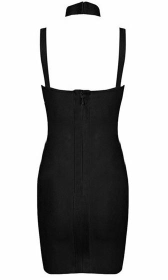 Yours Truly Black Sleeveless Mock Neck Cut Out Sweetheart Bodycon Bandage Mini Dress