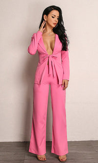 Eyes Wide Open Long Sleeve Tie Front Blazer Jacket Wide Leg Pants Two Piece Jumpsuit - Sold Out
