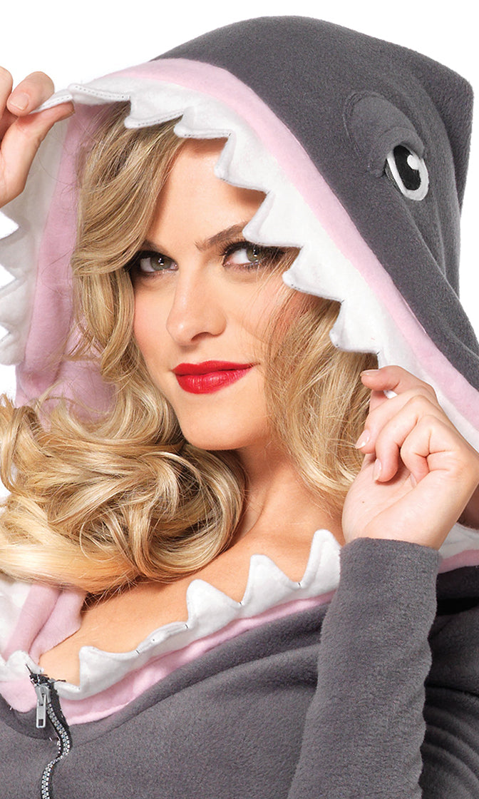 Juicy Jaws Grey Fleece Long Sleeve Zip Front Hood Shark Fin Mini Dress Halloween Costume
