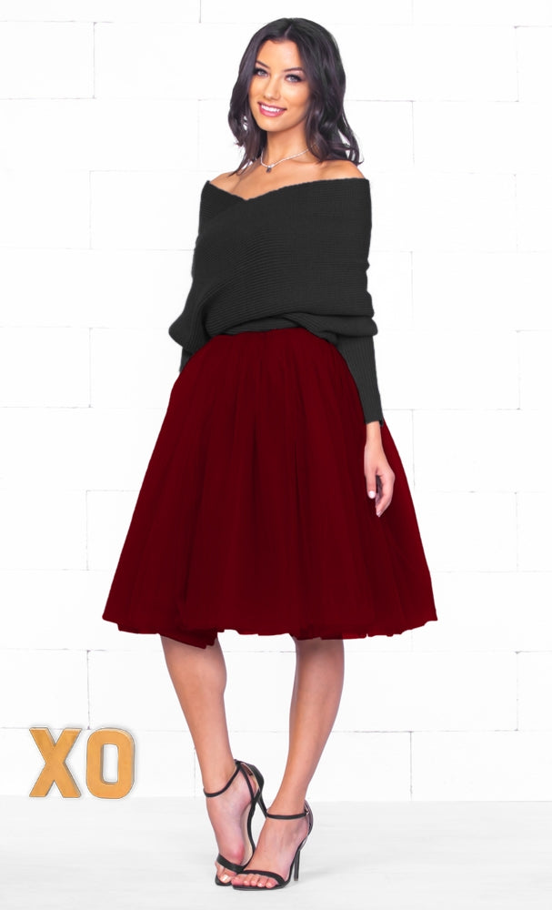 Indie XO 7 Layer On Pointe Burgundy Wine Red Tulle Pleated Ballerina A Line Full Midi Skirt - Just Ours!