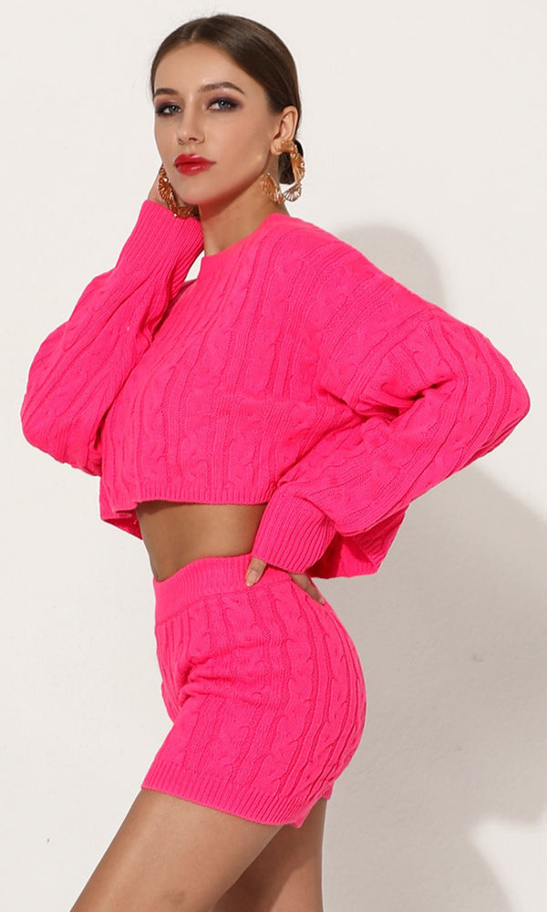 7b49deec3ba Bust A Move Neon Pink Long Sleeve Crew Neck Crop Top Pullover Sweater And  Shorts Two