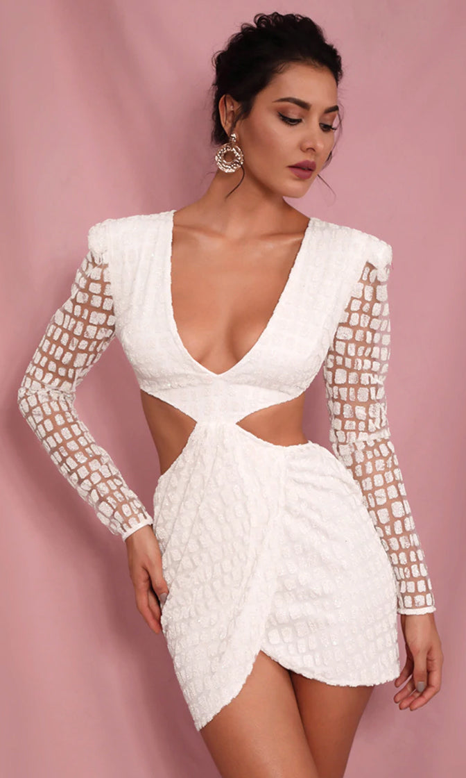 Remember Me Always White Glitter Geometric Pattern Long Sleeve Cut Out Sides Open Back Plunge V Neck Bodycon Mini Dress
