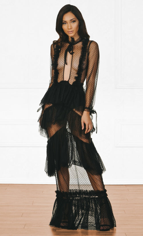 Indie XO Risk And Reward Black Polka Dot Sheer Mesh Long Sleeve Cut Out Keyhole Ruffle Bow Maxi Dress