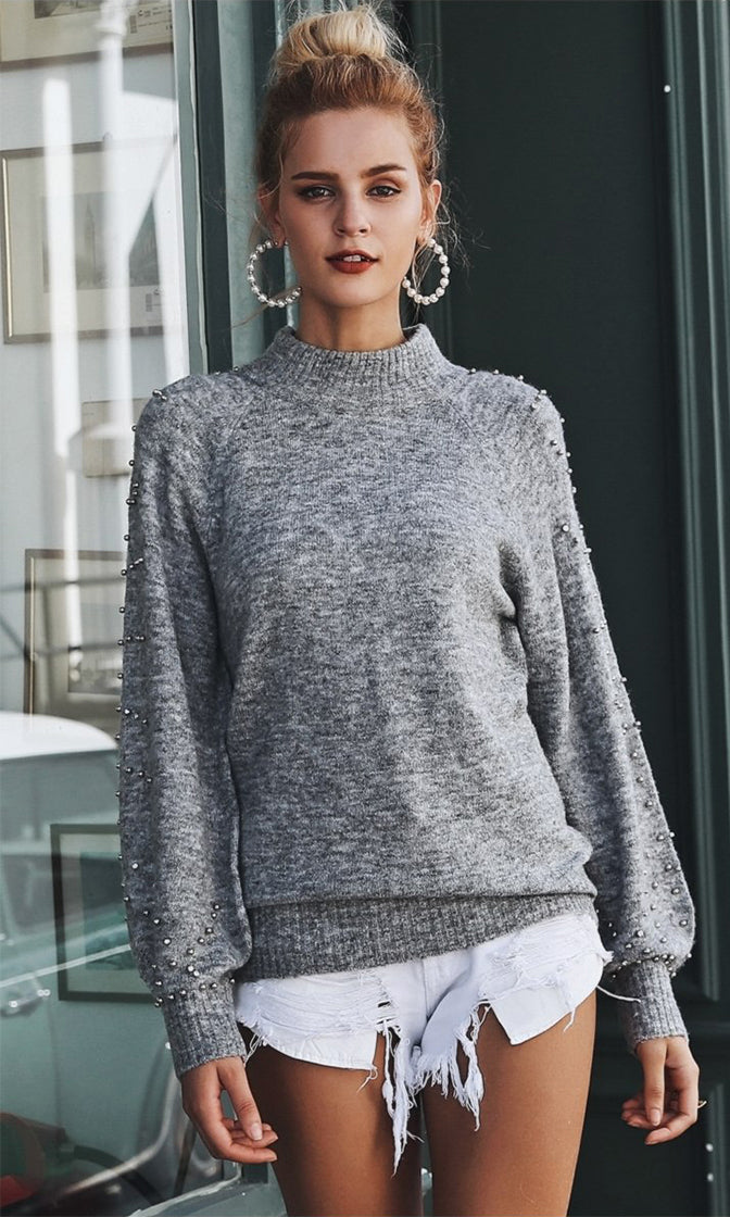 Cold Love Long Lantern Sleeve Beaded Mock Neck Pullover Sweater - 2 Colors Available