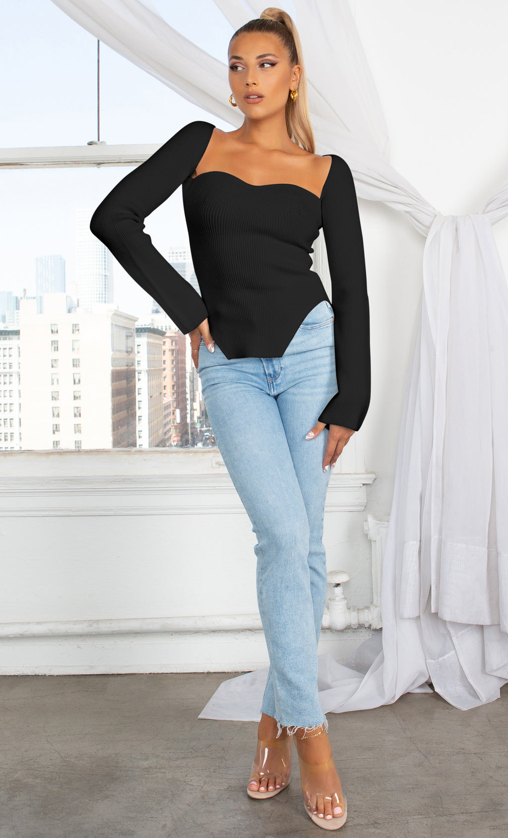 Parisian Soul Black Ribbed Long Sleeve Stretchy Bustier Sweetheart Neckline Cut Out Uneven Hem Pullover Sweater Knit Top
