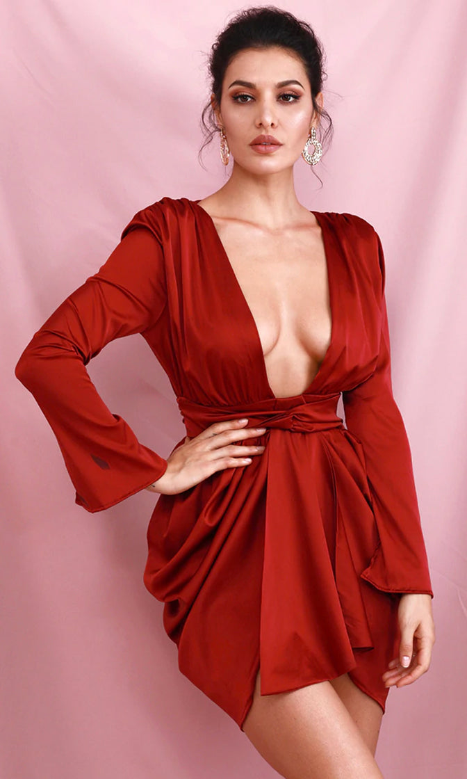 Girl Crush Burgundy Red Satin Shoulder Pad Long Sleeve Plunge V Neck Drape Split Sash Mini Dress
