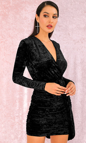 On A Hunch Black Gold Leopard Animal Pattern Long Lantern Sleeve Cross Wrap V Neck Drape Mini Dress