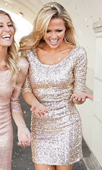 Gold Metallic Sequin Scoop Neck V Back 3/4 Sleeve Bodycon Mini Dress - Sold Out