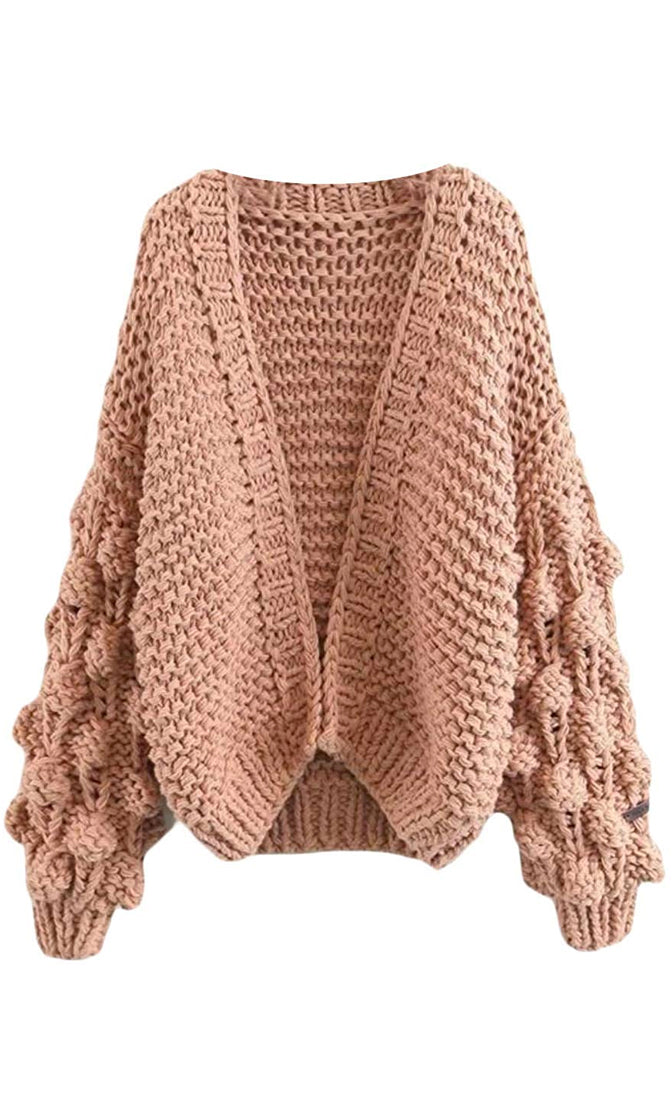 Desert Bound Light Pink Pom Pom Bubble Long Lantern Sleeve Chunky Knit Oversized Open Cardigan Outerwear Sweater