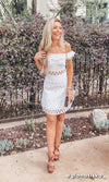 Side Stepping White Lace Cut Out Short Sleeve Ruffle Off The Shoulder Flare Casual Mini Dress - Sold Out
