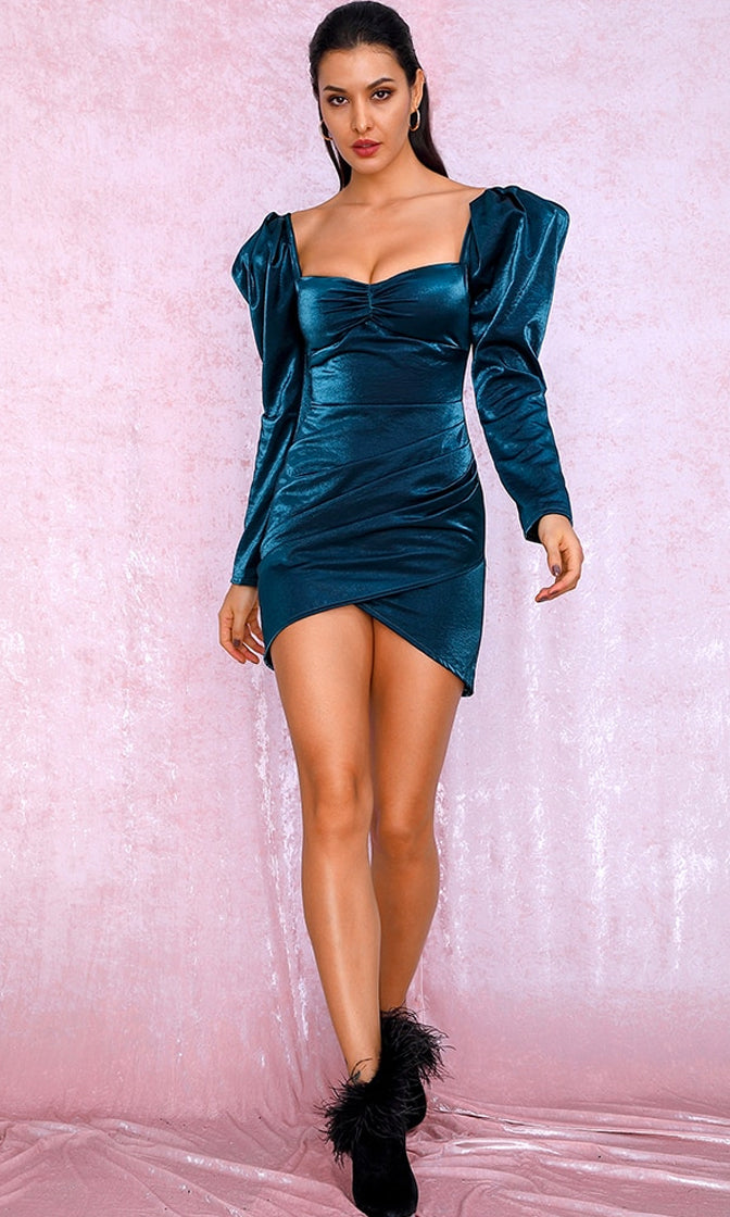 Mystery Woman Blue Metallic Long Sleeve Puff Shoulder Sweetheart Neck Ruched Tulip Bodycon Mini Dress