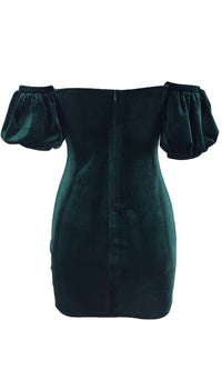 Up To The Minute Emerald Green Velvet Short Puff Sleeve Off The Shoulder V Neck Bodycon Mini Dress